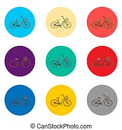 Vector icon illustration for set symbols retro bicycle with basket
