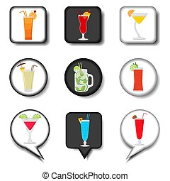 Vector icon illustration for set symbols summer cocktail with straw
