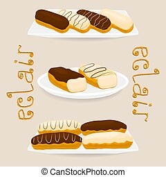 Vector icon illustration logo for cake French eclair.