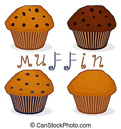Vector icon illustration logo for set homemade muffin