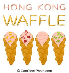 Vector icon illustration logo for set various sweet Hong Kong waffles