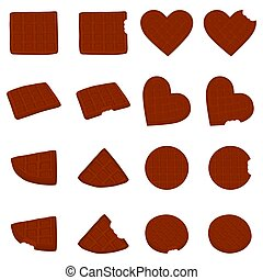 Vector icon illustration logo for set various sweet waffles