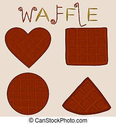 Vector icon illustration logo for set various sweet waffles.