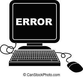 computer error - vector icon illustration of a computer...