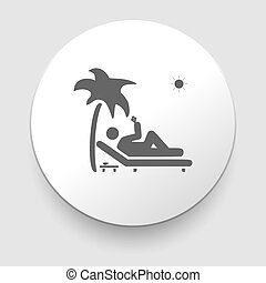 Vector icon illustration showing a man relaxing on lying...
