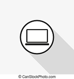 Vector icon laptop with a long shadow on the background