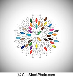 vector icon large flower with colorful petals - concept...