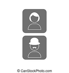 Vector icon male and female profile picture in trendy flat style. Unknown user avatars.