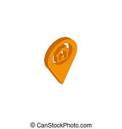 Vector icon map Icons markers. isometric. 3d sign isolated on white background.
