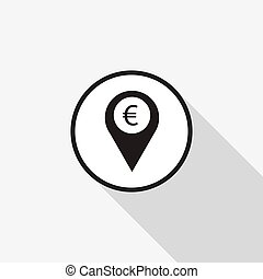 Vector icon marker location icon Euro with a long shadow on the background