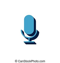 vector icon microphone isometric. 3d sign isolated on white background.