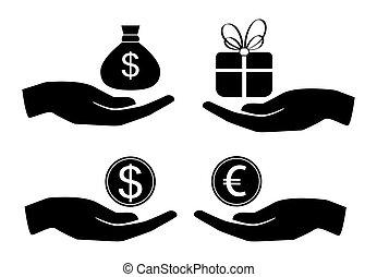 Vector icon money in hand.