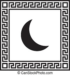 Vector icon moon in a frame with a Greek ornament