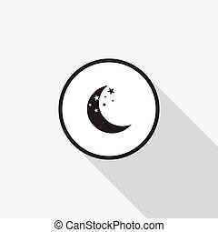 Vector icon moon with a long shadow on the background