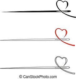 Vector icon needle with heart