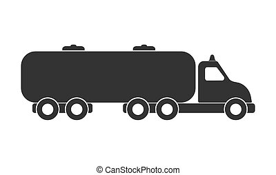 Vector icon of a car with a tank. Isolated on a white background