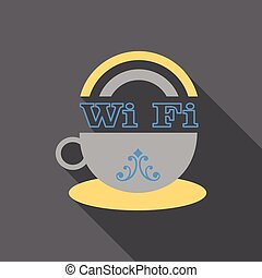 Vector icon of a cup of coffee with WiFi symbol