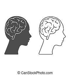 Vector icon of a female head with a brain Empty outline and silhouette isolated on a white background.