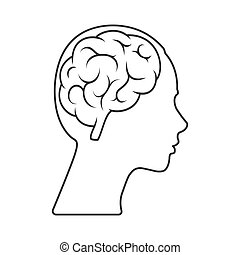 Vector icon of a female head with a brain Empty outline isolated on a white background.