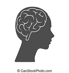 Vector icon of a female head with a brain. The silhouette is isolated on a white background.