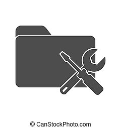 Vector icon of a folder with a screwdriver and key. Symbol for setting, repairing, or adjusting parameters. Stock illustration isolated on a white background.