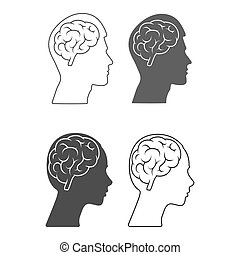 Vector icon of a male and female head with a brain Empty outline and silhouette isolated on a white background.