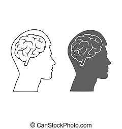 Vector icon of a male head with a brain Empty outline and silhouette isolated on a white background.