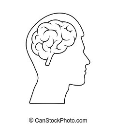 Vector icon of a male head with a brain Empty outline isolated on a white background.