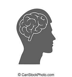 Vector icon of a male head with a brain. The silhouette is isolated on a white background.