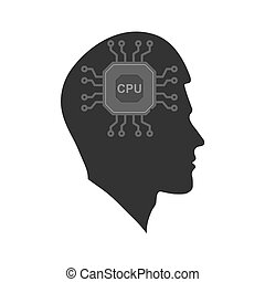 Vector icon of a man's head with a Chip. The silhouette is isolated on a white background