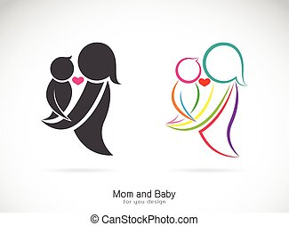 Vector icon of a mom and baby on white background, Expression of love.