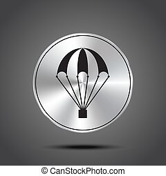 Vector icon of a parachute metallic isolated on dark background