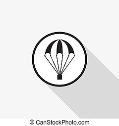 Vector icon of a parachute with a long shadow on the background