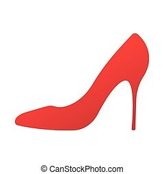Vector icon of a shoes. Women s high-heeled sticker. For your design. High heel shoes icon. Elegant red silhouette. Information sign. Women shoe symbol. Fashion label. Shoes isolated on white background. Stock Vector illustration.