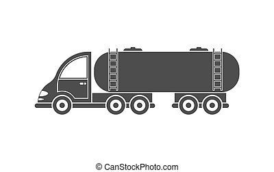 Vector icon of a tractor with a tank. Simple design, filled silhouette isolated on white background for websites and apps