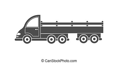 Vector icon of a tractor with a trailer. Simple design, filled silhouette isolated on white background for websites and apps