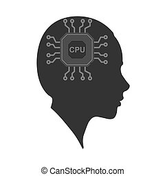 Vector icon of a woman's head with a Chip. The silhouette is isolated on a white background