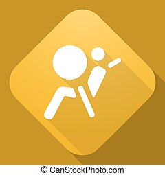 Vector icon of Airbag Sign with a long shadow - icon of...