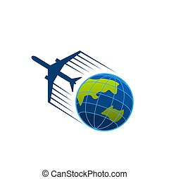 Vector icon of airplane flying around earth