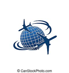Vector icon of airplane jet over world globe