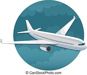 Vector icon of airplane side view