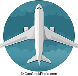 Vector icon of airplane top view