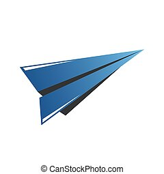 Vector icon of airplane, wing in negative space. Travel, extreme air sports, sky diving, handgliding logo template