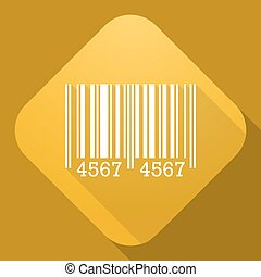 Vector icon of Barcode Sign with a long shadow
