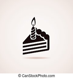 vector icon of birthday cake slice with burning candle