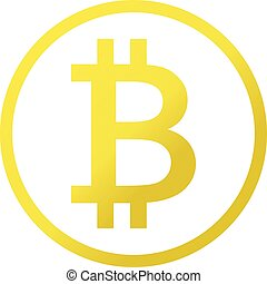 Vector icon of bitcoin cryptocurrency symbol