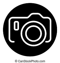 Vector icon of camera on black background with dots
