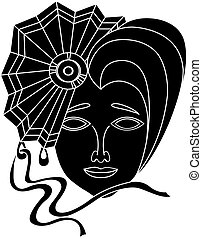 Vector icon of carnival mask on a white background