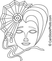 Vector icon of carnival mask on white background