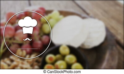 Vector icon of chef hat and mustache with food in background 4k